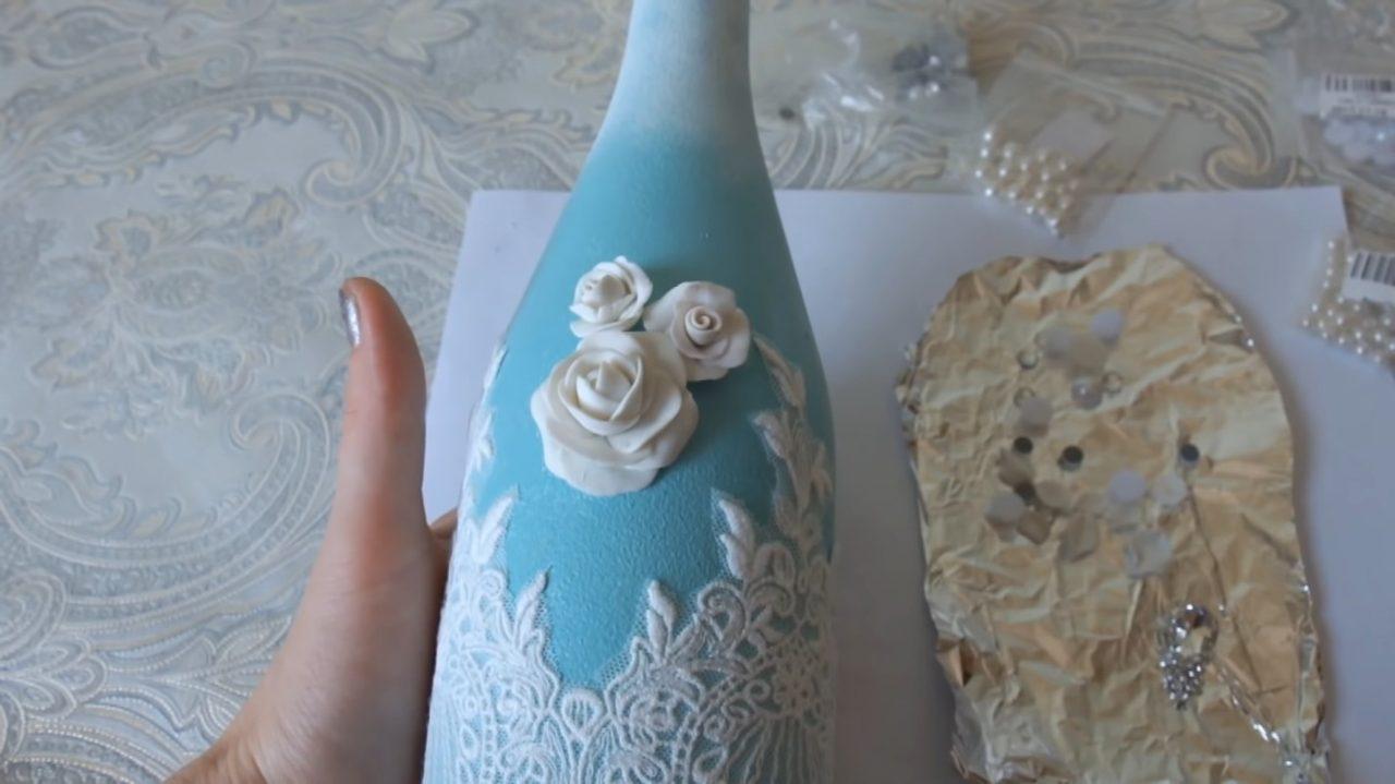 Украшаем бутылку шампанского на свадьбу