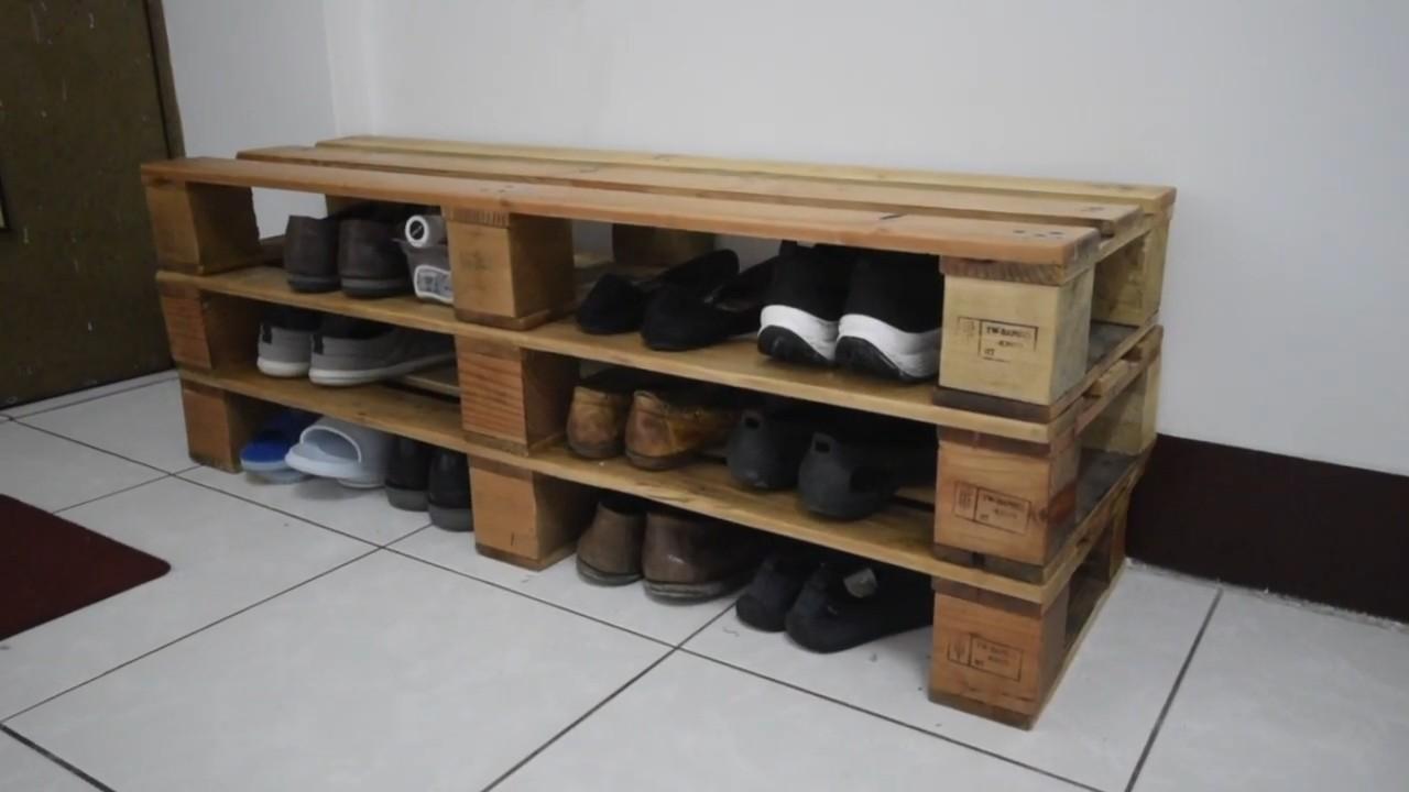 Полка для обуви из деревянного поддона