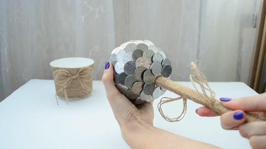 Денежное дерево из монет и купюр своими руками