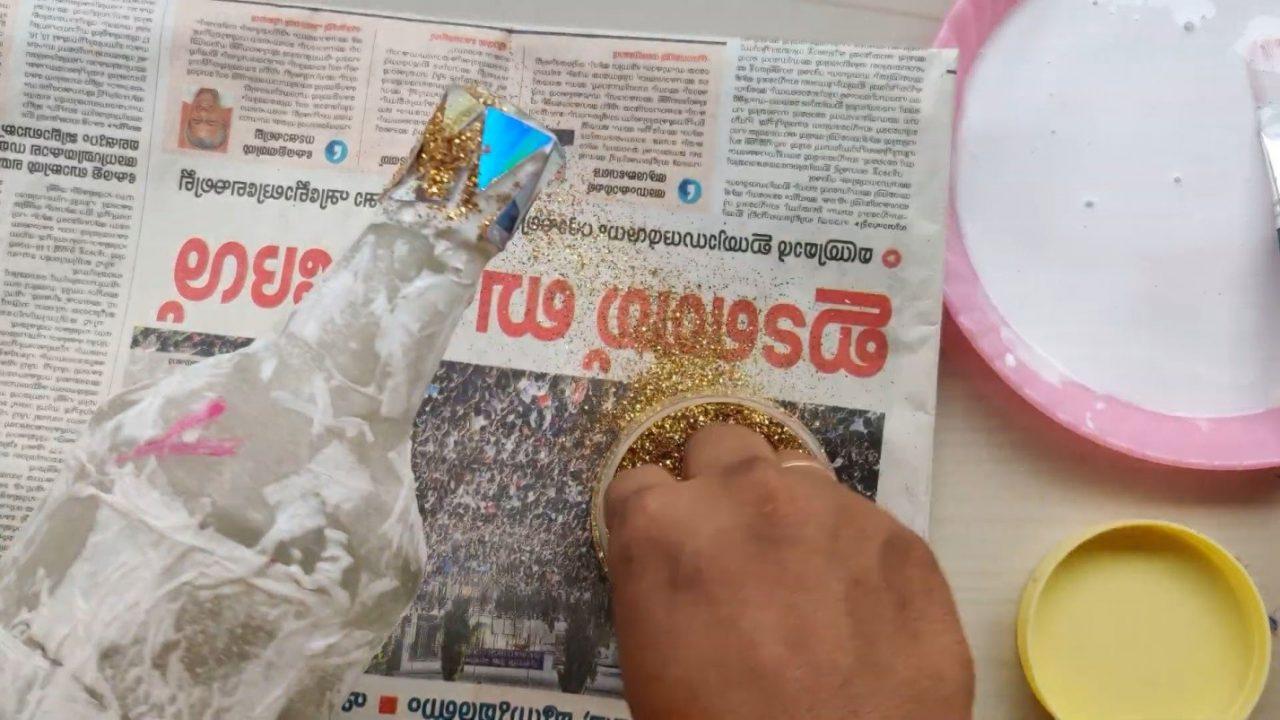 Декорирование бутылки с эффектом мозайки