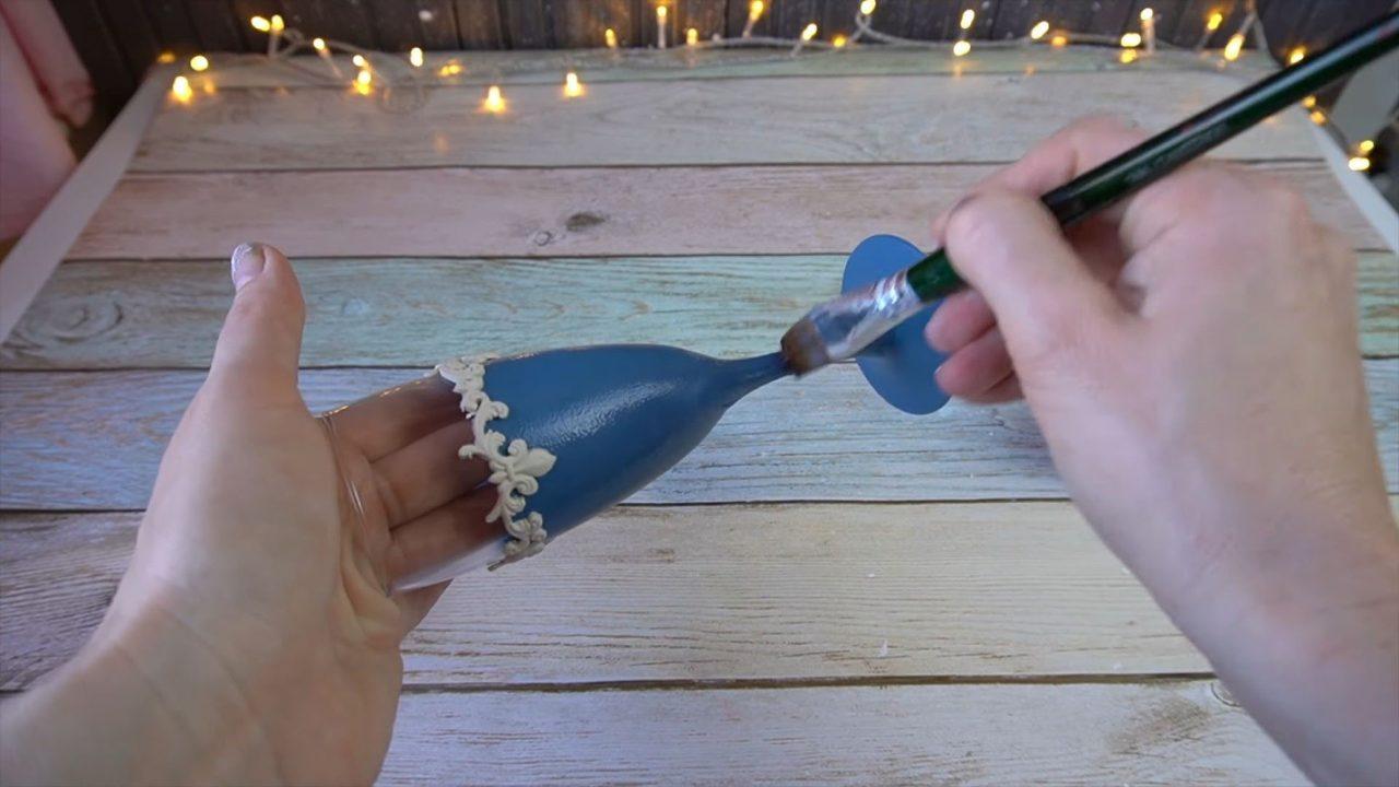 Украшение свадебных бокалов для молодоженов