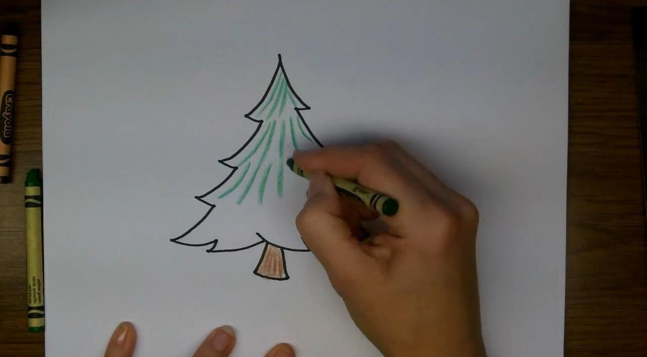 Рисуем елочку карандашом или фломастером