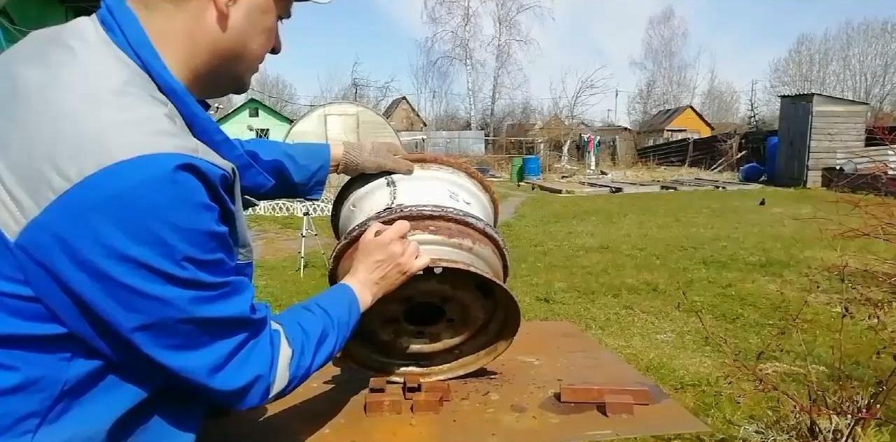 Удобный казан мангал из старых колесных дисков