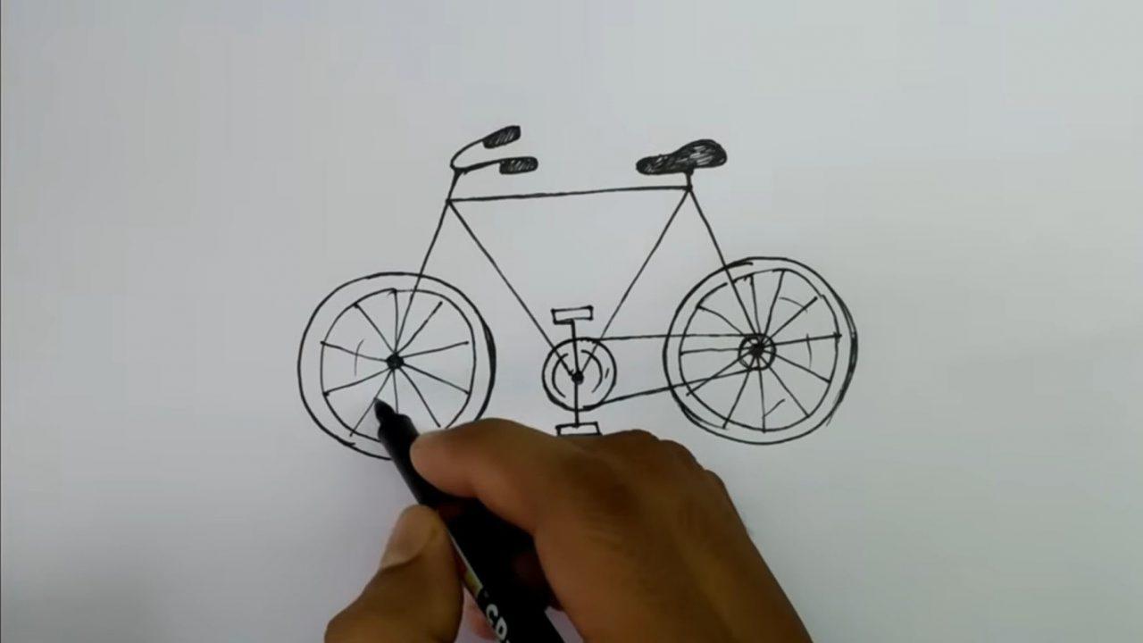 Рисуем велосипед с ребенком