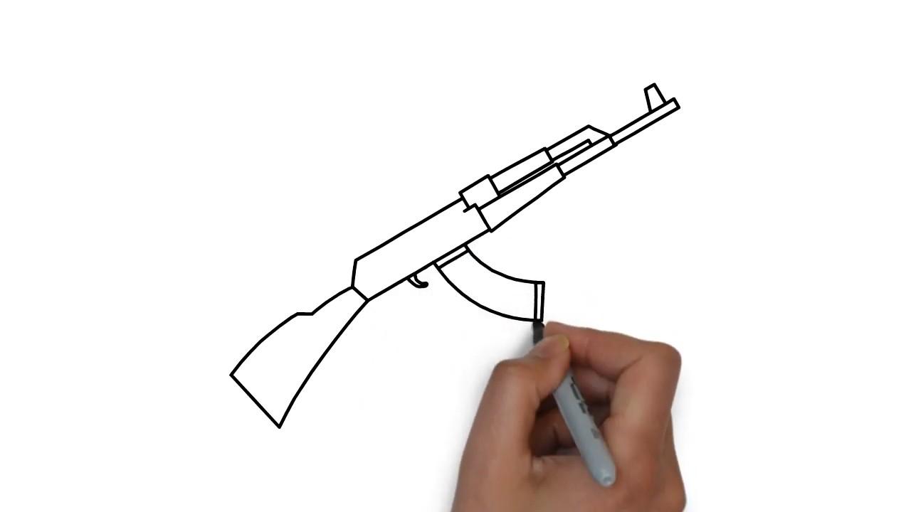 Как нарисовать автомат Калашникова АК 47