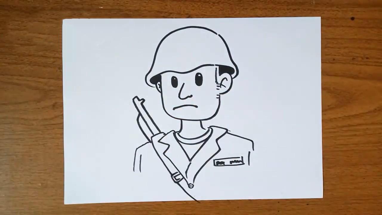 Как нарисовать мультяшного солдата