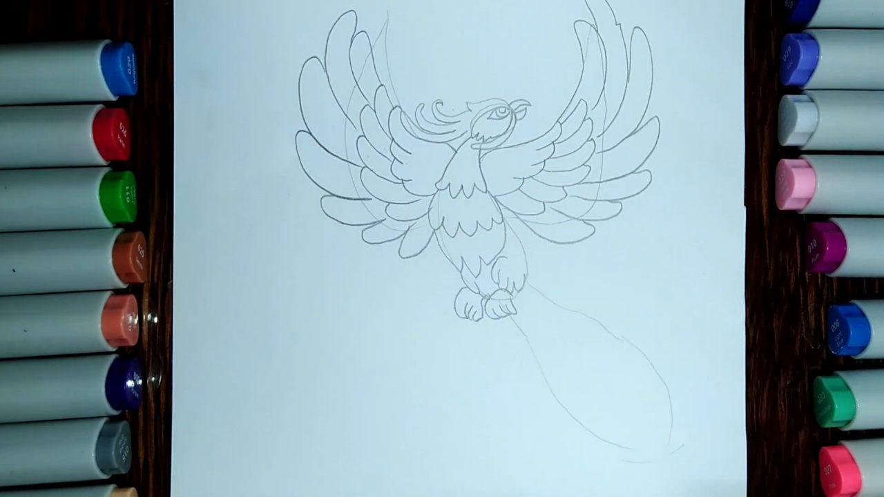 Как нарисовать жар птицу карандашом и разукрасить