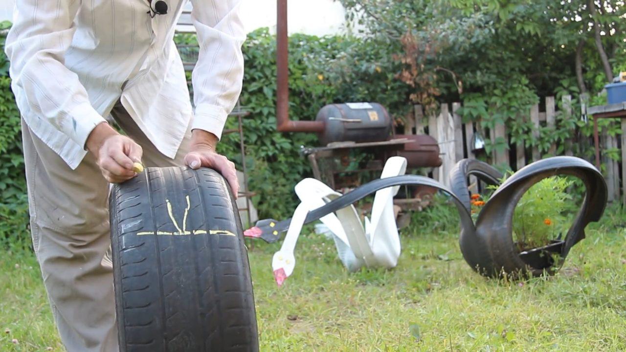 Как вырезать лебедя из покрышки: пошаговая инструкция