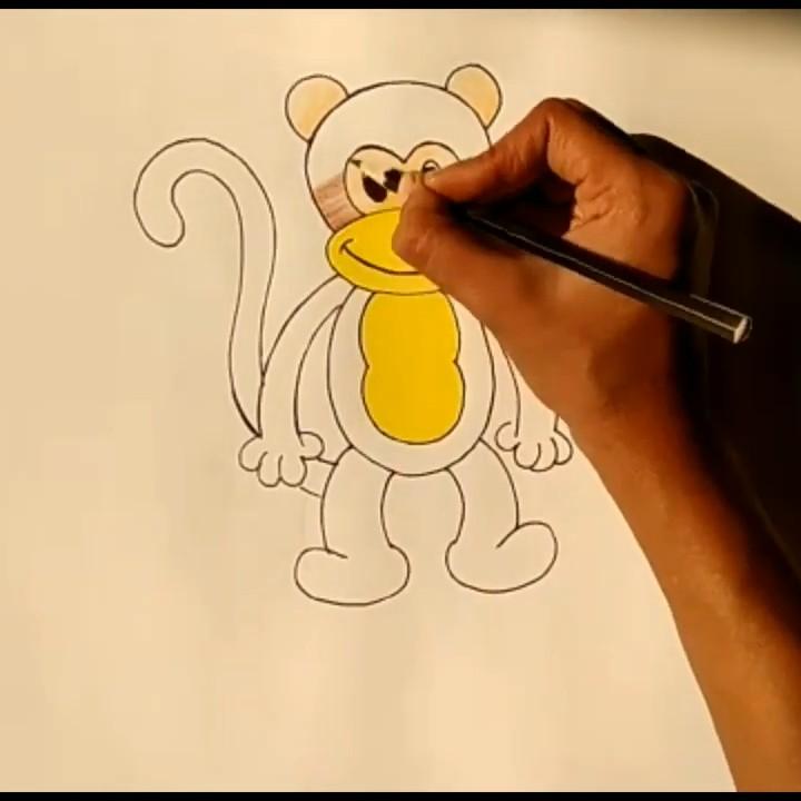 Как нарисовать мартышку карандашами