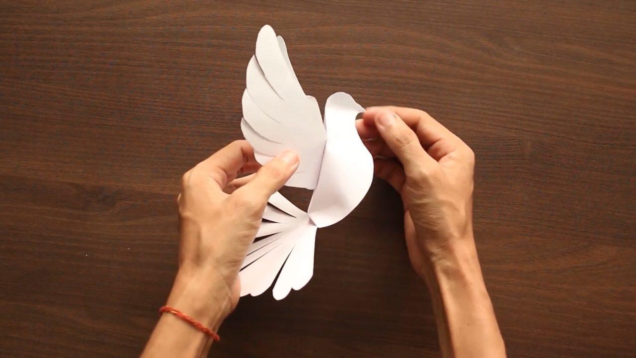 Как вырезать роскошного голубя из бумаги