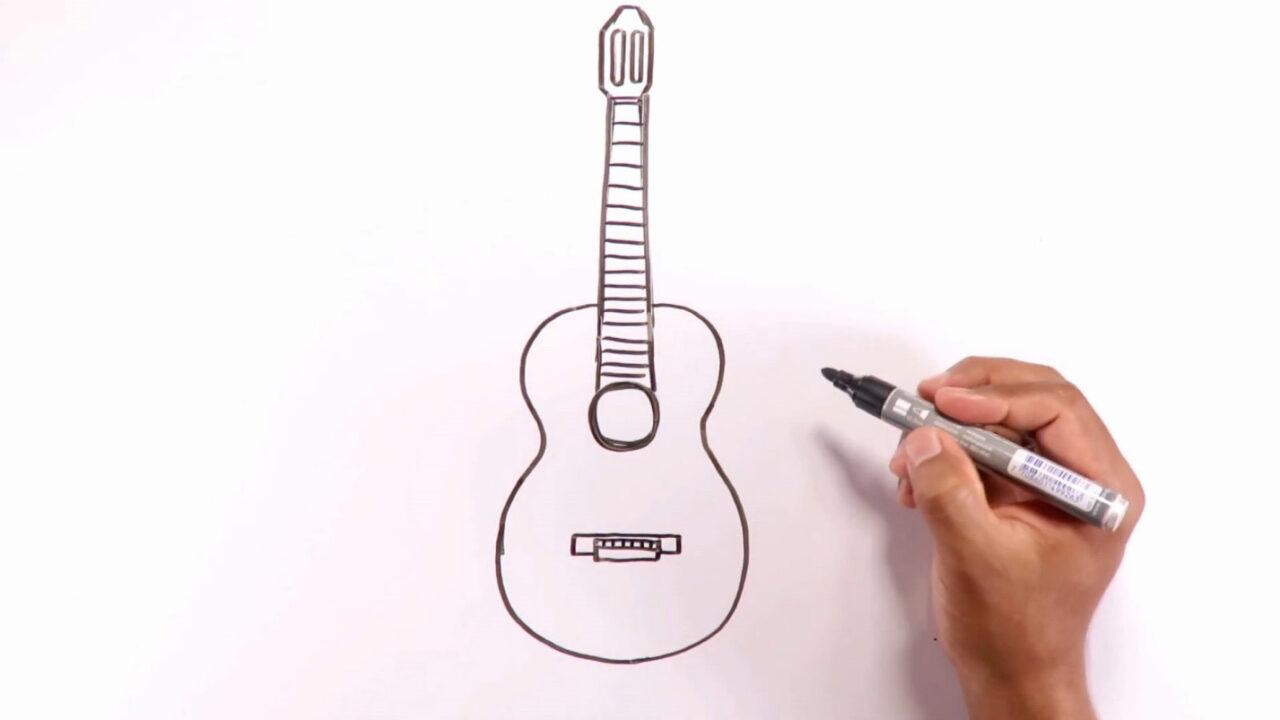 Как нарисовать гитару карандашом или фломастером