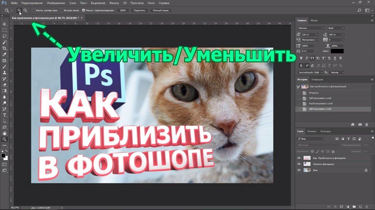 Как приблизить картинку в Фотошопе (масштабирование)