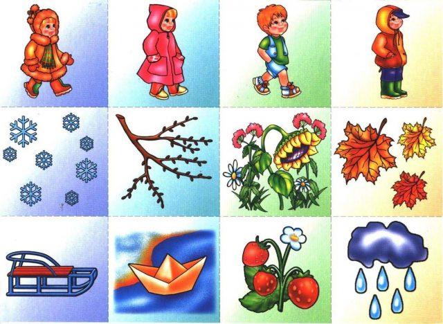 100 картинок с временами года для детей дошкольного возраста