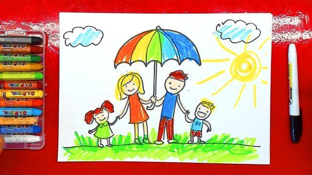 Как нарисовать семью. 100 картинок для детей