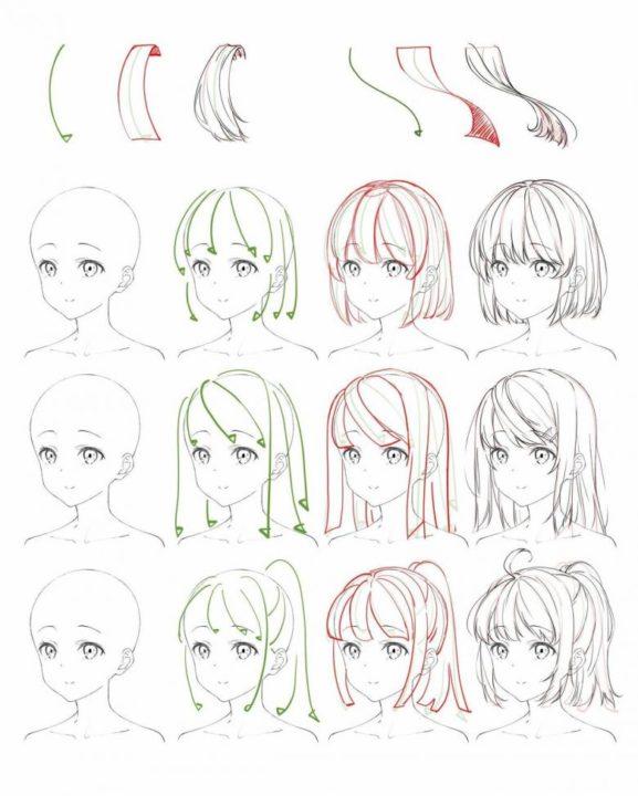 Как нарисовать волосы девушки. 60 карандашным рисунков