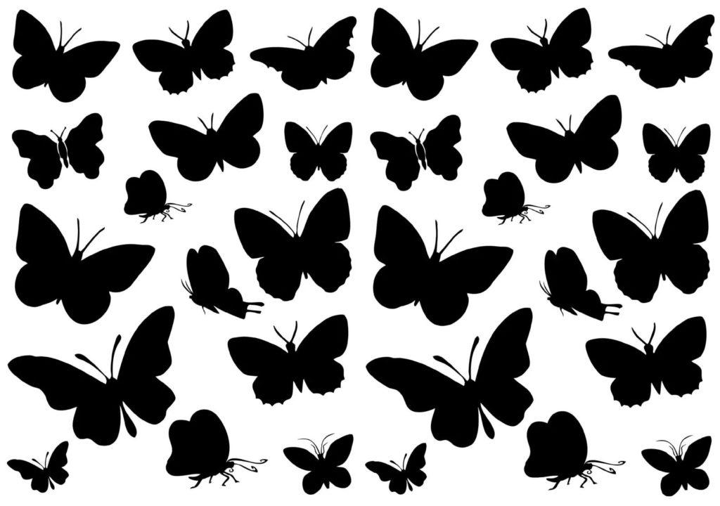 112 трафаретов бабочек для вырезания из бумаги