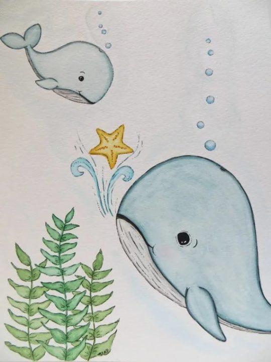 Как нарисовать кита (105 рисунков для детей)