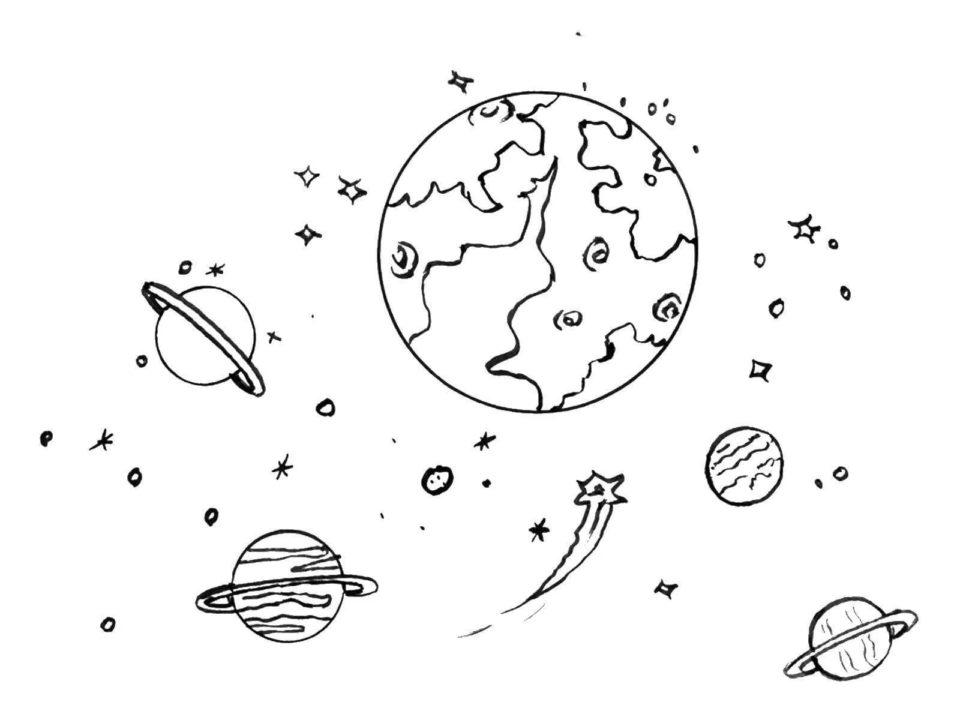160 раскрасок на тему космоса и планет для детей